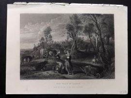 After Rubens C1860 Antique Art Journal Print. The Farm at Lacken. Cattle